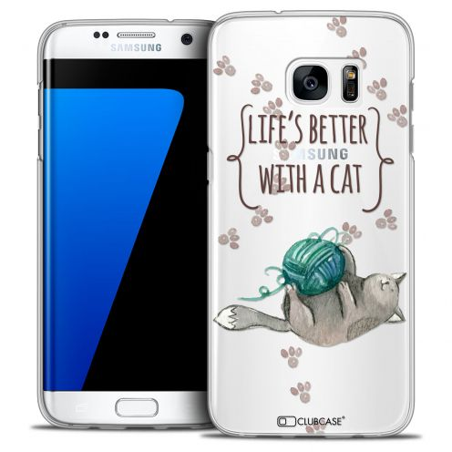 Coque Crystal Galaxy S7 Edge Extra Fine Quote - Life's Better With a Cat