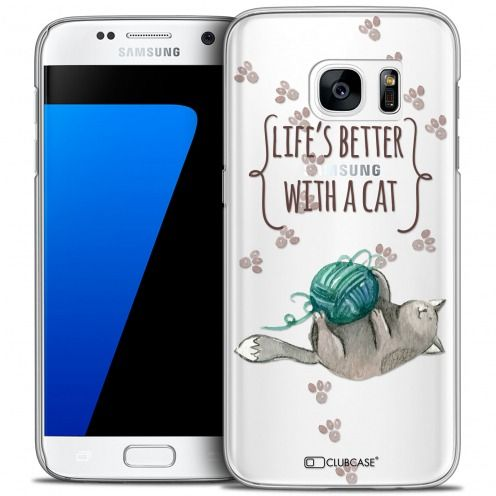 Coque Crystal Galaxy S7 Extra Fine Quote - Life's Better With a Cat