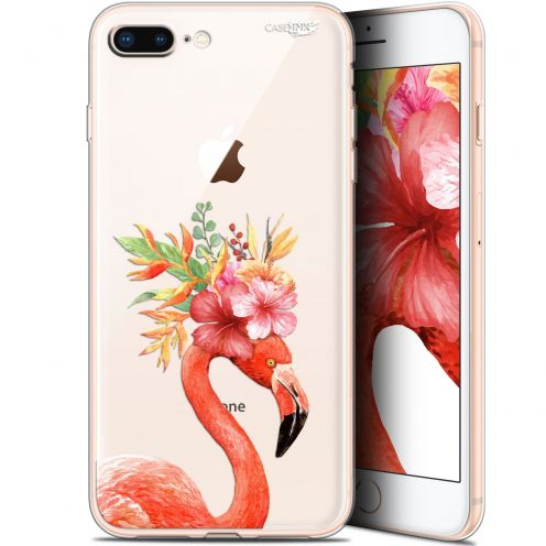 "Coque Gel Apple iPhone 7/8 Plus (4.7"") Extra Fine Motif - Flamant Rose Fleuri"