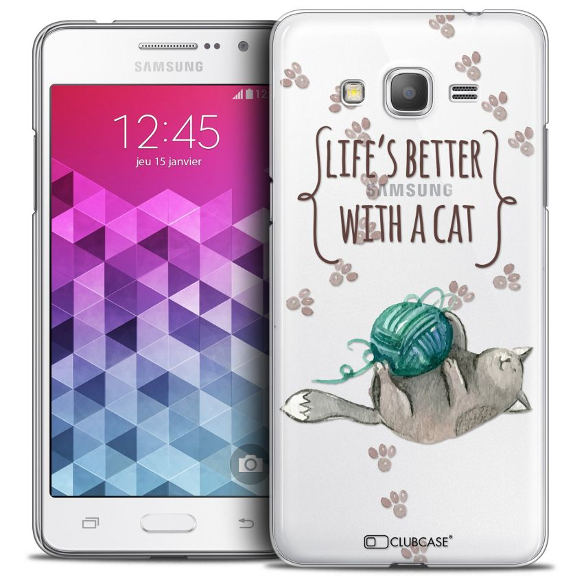 Coque Crystal Galaxy Grand Prime Extra Fine Quote - Life's Better With a Cat
