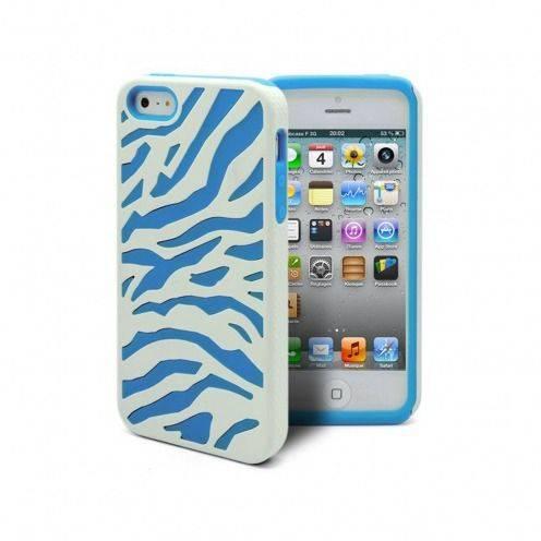 Vue complémentaire de Coque iPhone 5 ZEBRA Bi Matière Bleue