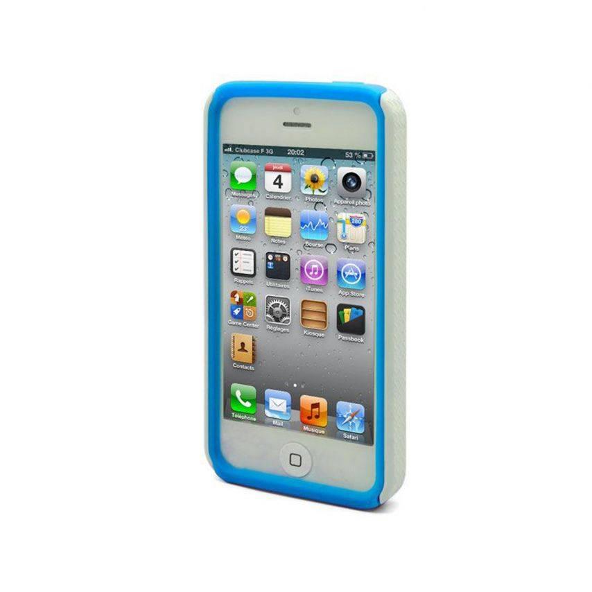 Vue portée de Coque iPhone 5 ZEBRA Bi Matière Bleue