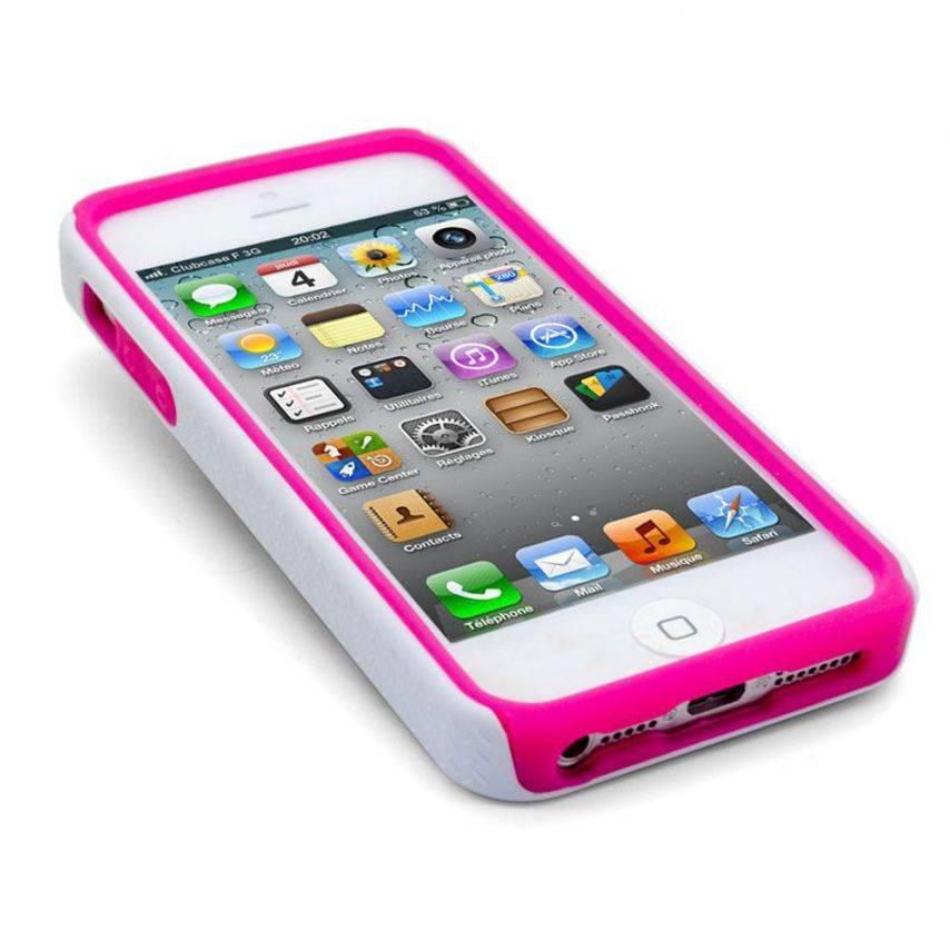 Vue complémentaire de Coque iPhone 5 ZEBRA Bi Matière Rose
