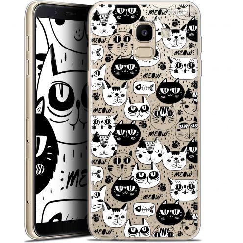 "Coque Gel Samsung Galaxy J6 2018 J600 (5.6"") Extra Fine Motif - Chat Noir Chat Blanc"