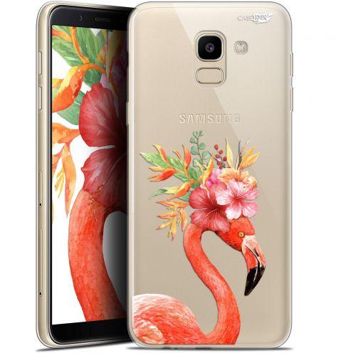 "Coque Gel Samsung Galaxy J6 2018 J600 (5.6"") Extra Fine Motif -  Flamant Rose Fleuri"