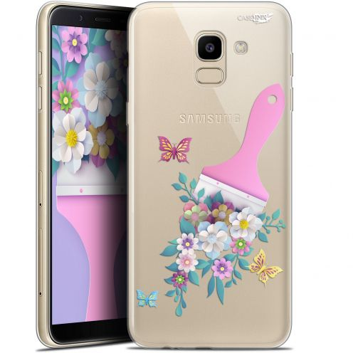 "Coque Gel Samsung Galaxy J6 2018 J600 (5.6"") Extra Fine Motif -  Pinceau à Fleurs"