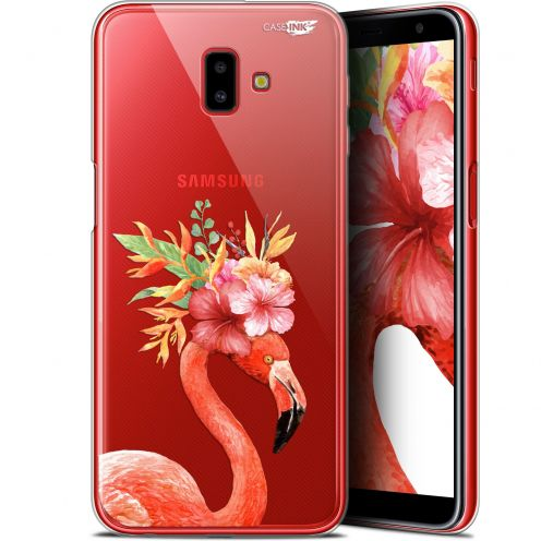 "Coque Gel Samsung Galaxy J6 Plus J6+ (6.4"") Extra Fine Motif - Flamant Rose Fleuri"