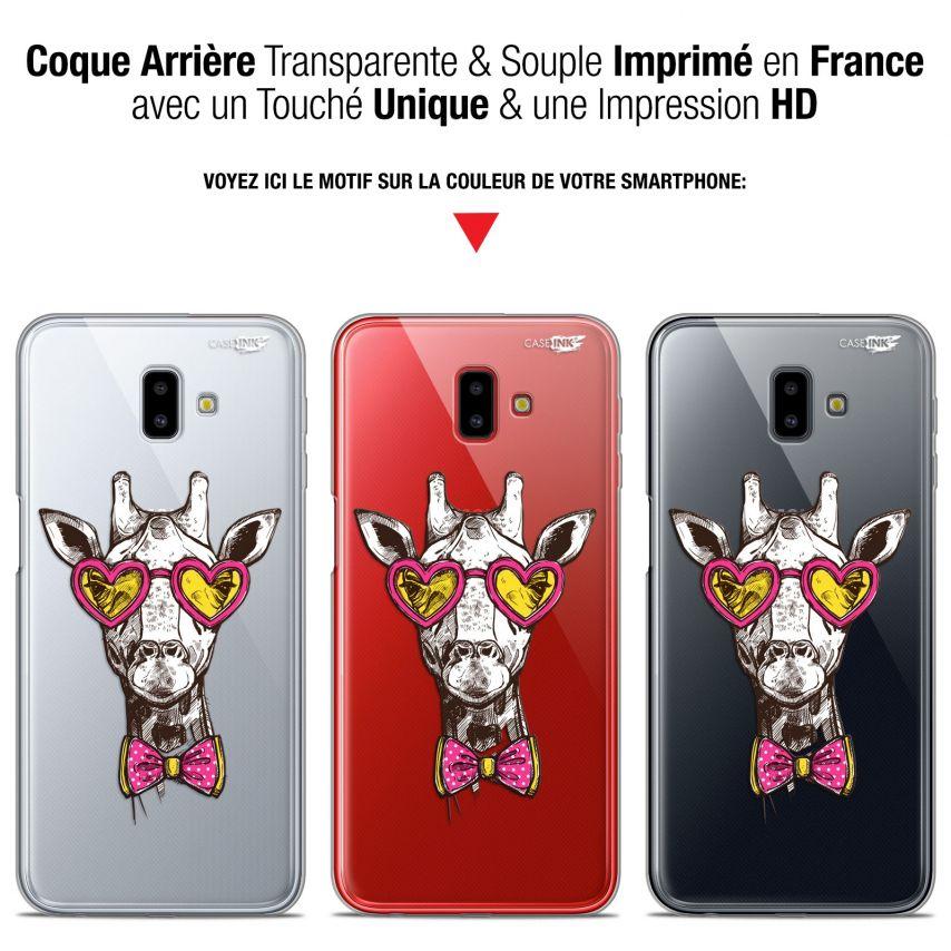 "Coque Gel Samsung Galaxy J6 Plus J6+ (6.4"") Extra Fine Motif - Hipster Giraffe"