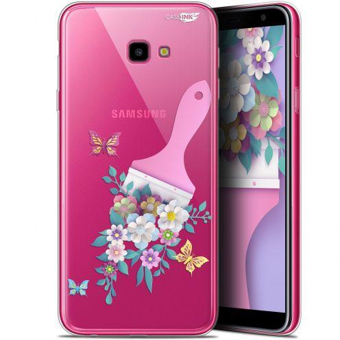 "Coque Gel Samsung Galaxy J4 Plus J4+ (6"") Extra Fine Motif -  Pinceau à Fleurs"
