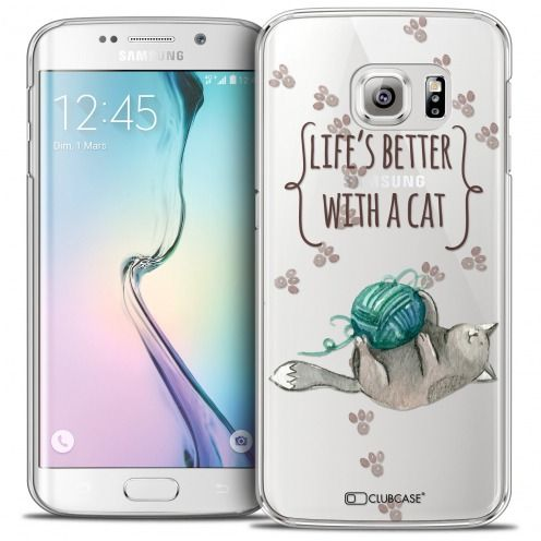 Coque Crystal Galaxy S6 Edge Extra Fine Quote - Life's Better With a Cat