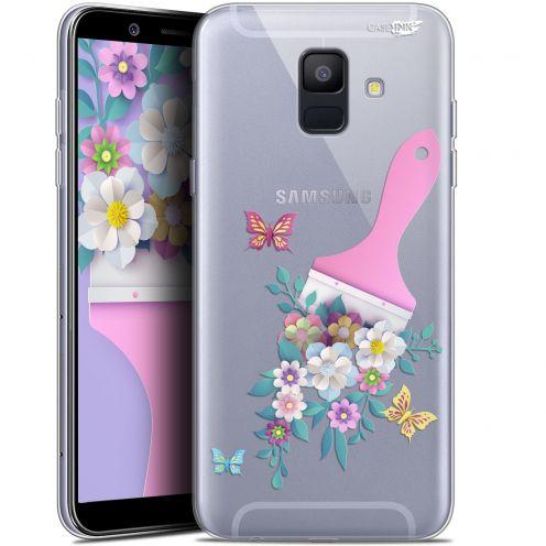 "Coque Gel Samsung Galaxy A6 2018 (5.45"") Extra Fine Motif -  Pinceau à Fleurs"