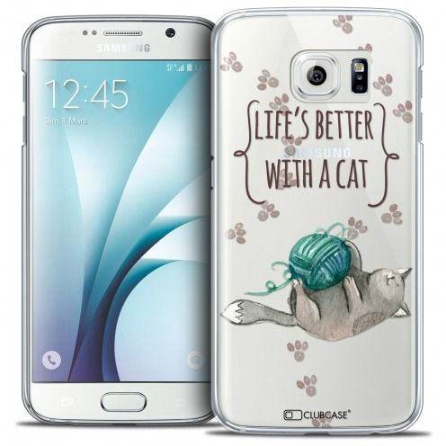 Coque Crystal Galaxy S6 Extra Fine Quote - Life's Better With a Cat
