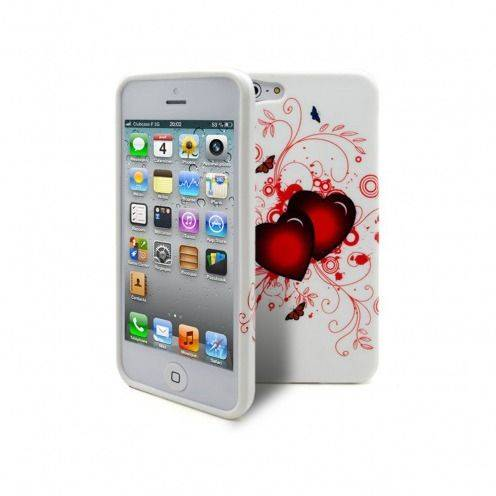 Coque iPhone 5 - 5S Hearts ABSTRACTION Rouge