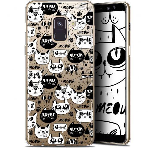 "Coque Gel Samsung Galaxy A8 (2018) A530 (5.6"") Extra Fine Motif - Chat Noir Chat Blanc"