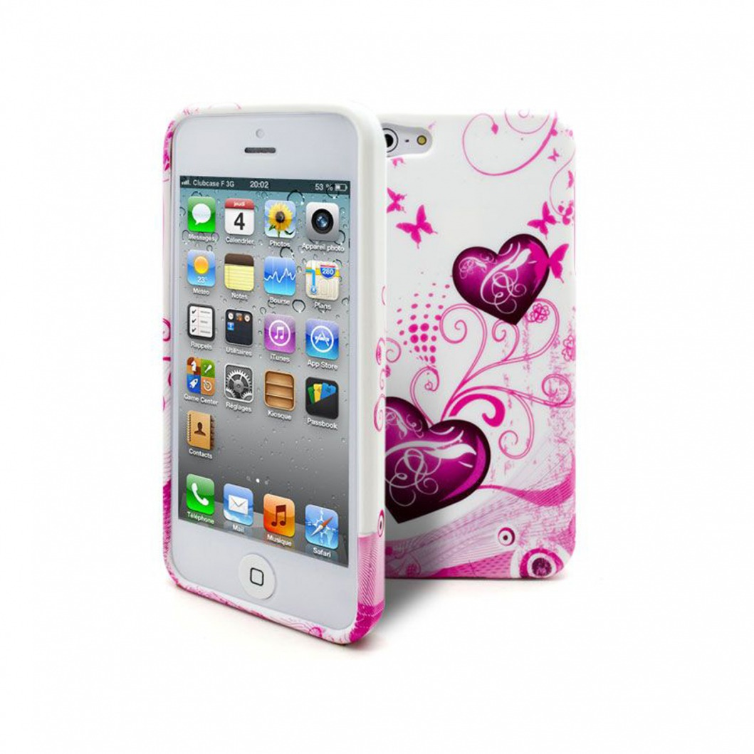 Coque iPhone 5S - 5 Hearts ABSTRACTION Rose | Clubcase.fr