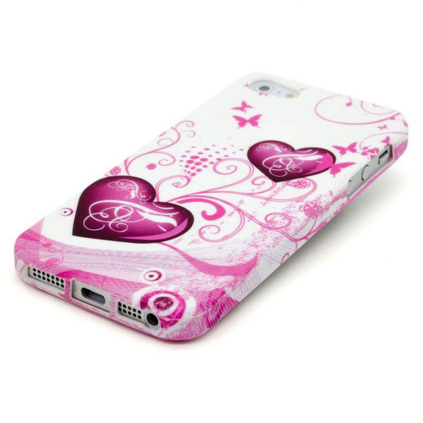 Vue portée de Coque iPhone 5 Hearts ABSTRACTION Rose