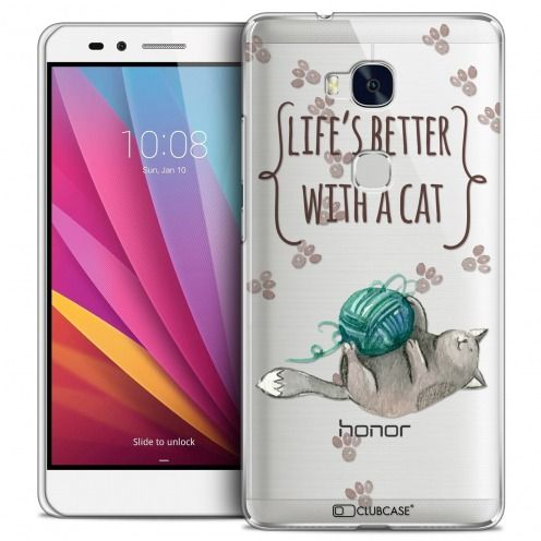 Coque Crystal Honor 5X Extra Fine Quote - Life's Better With a Cat