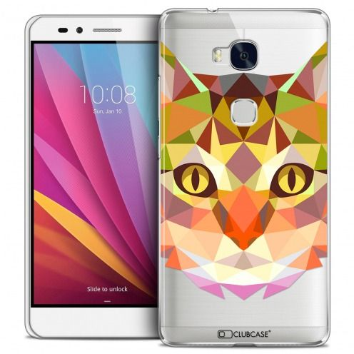 Coque Crystal Honor 5X Extra Fine Polygon Animals - Chat
