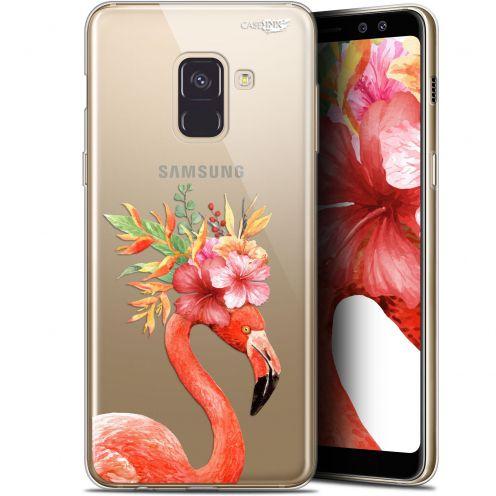 "Coque Gel Samsung Galaxy A8+ (2018) A730 (6"") Extra Fine Motif -  Flamant Rose Fleuri"