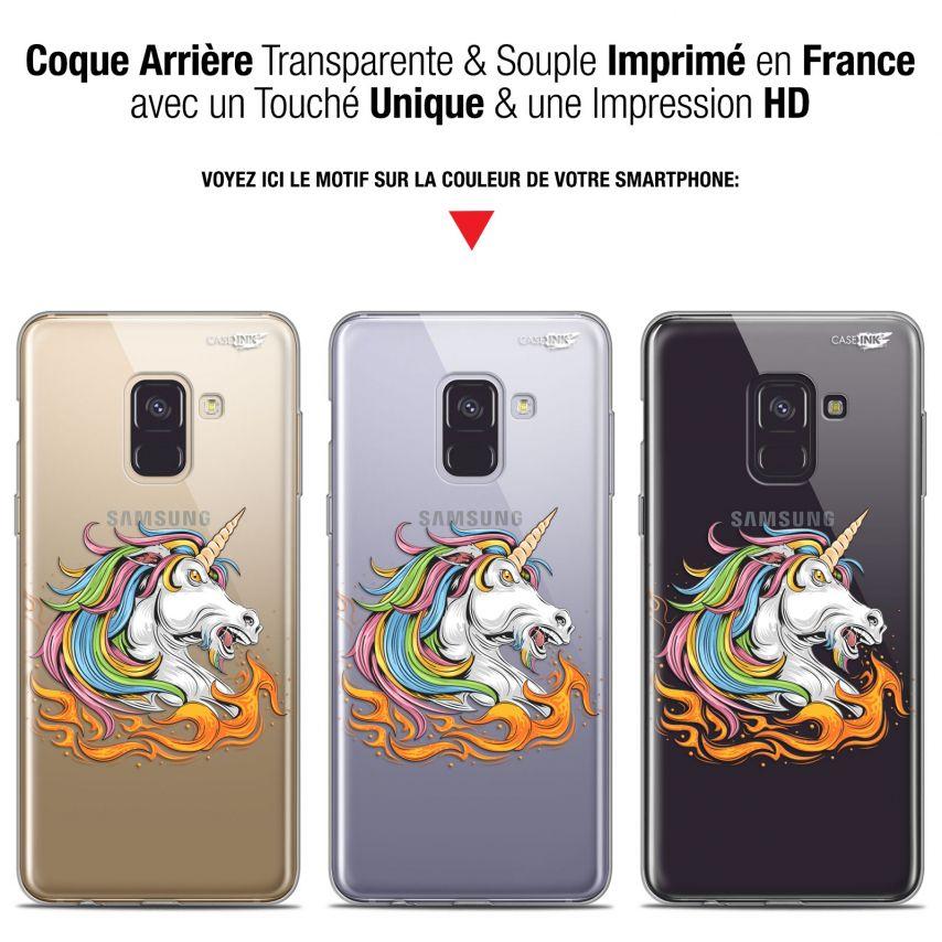 "Coque Gel Samsung Galaxy A8+ (2018) A730 (6"") Extra Fine Motif - Licorne de Feu"
