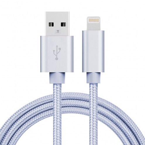3A Fast Series USB to 8 Pin Cable for iPhone 6s/6/Plus/5/S/C/iPad/iPad Pro – Silver