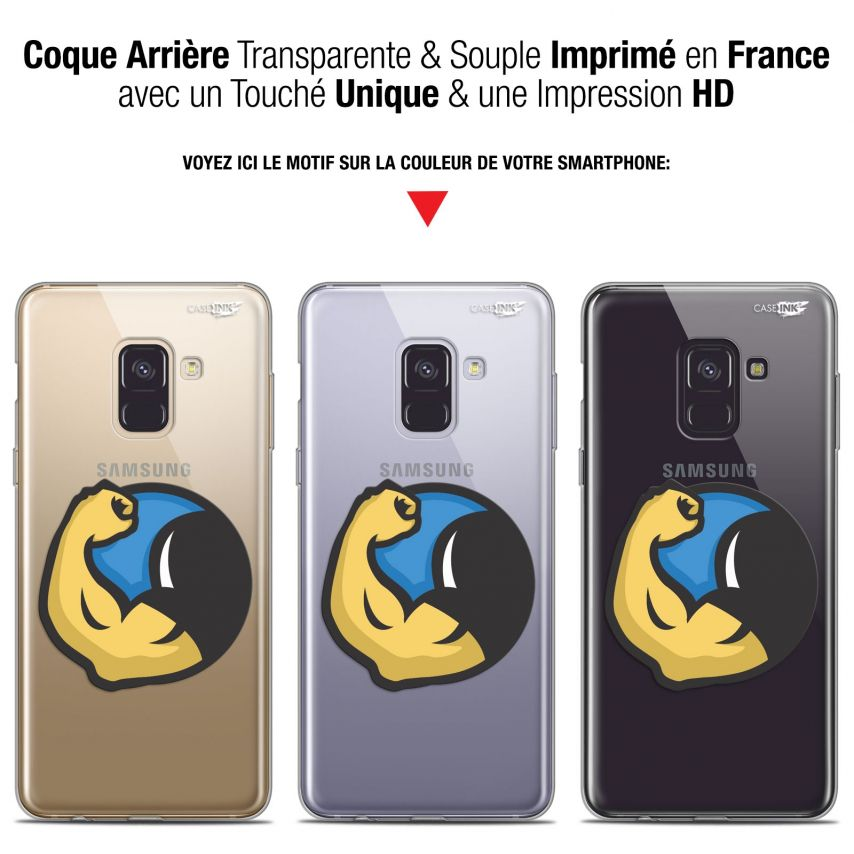 "Coque Gel Samsung Galaxy A8+ (2018) A730 (6"") Extra Fine Motif - Monsieur Muscle"
