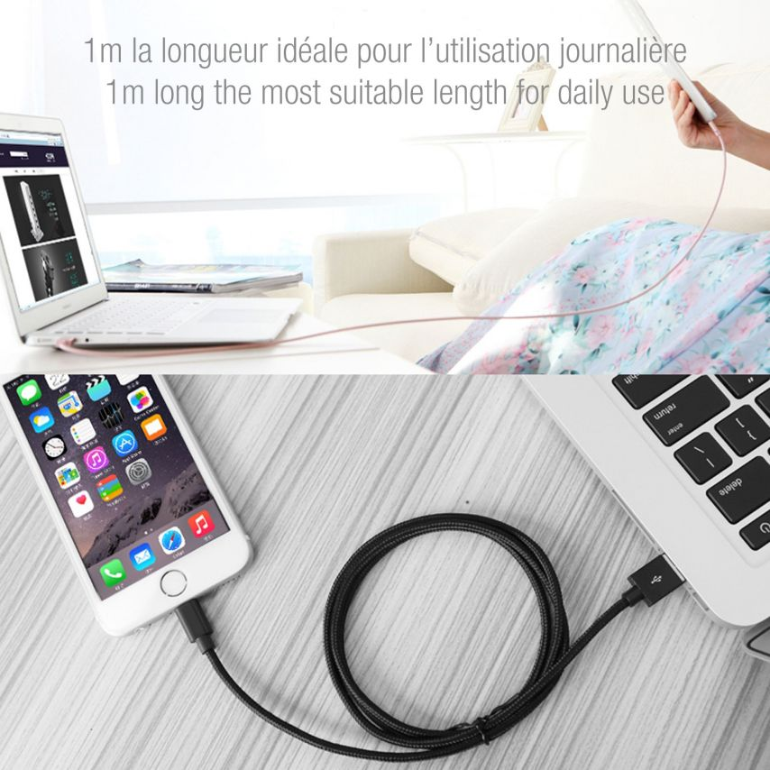 Câble USB à 8 Pins iOS9 1m 3A Fast Charge Blindé - iPhone 6S/6 Plus/5/S/C Noir