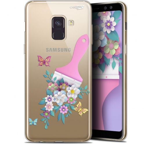 "Coque Gel Samsung Galaxy A8+ (2018) A730 (6"") Extra Fine Motif - Pinceau à Fleurs"