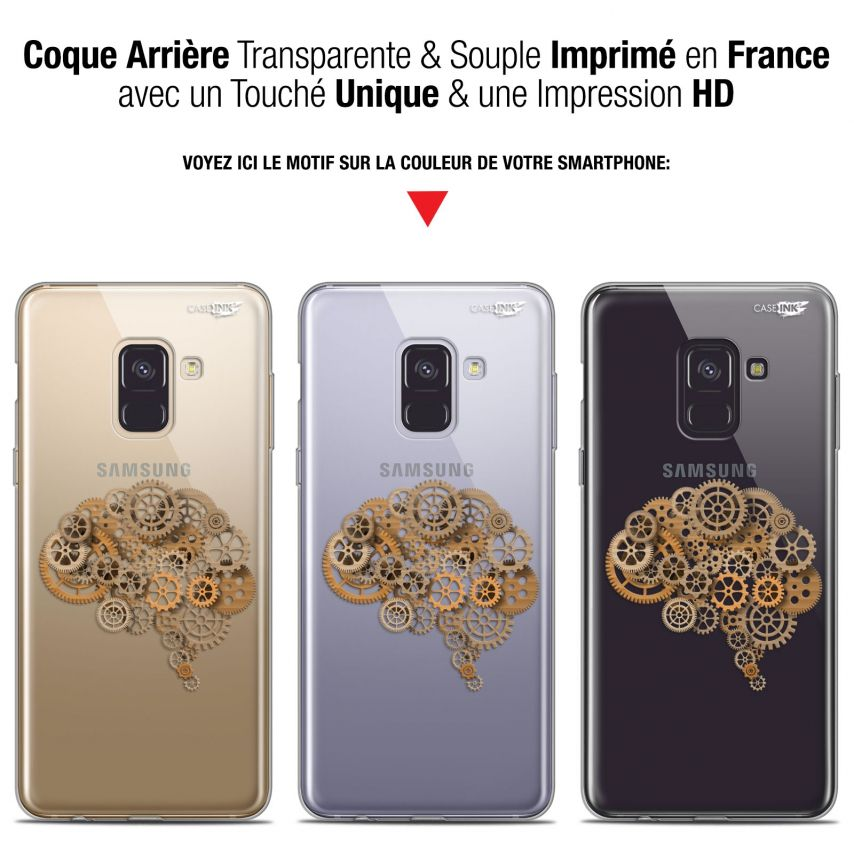 "Coque Gel Samsung Galaxy A8+ (2018) A730 (6"") Extra Fine Motif - Mécanismes du Cerveau"