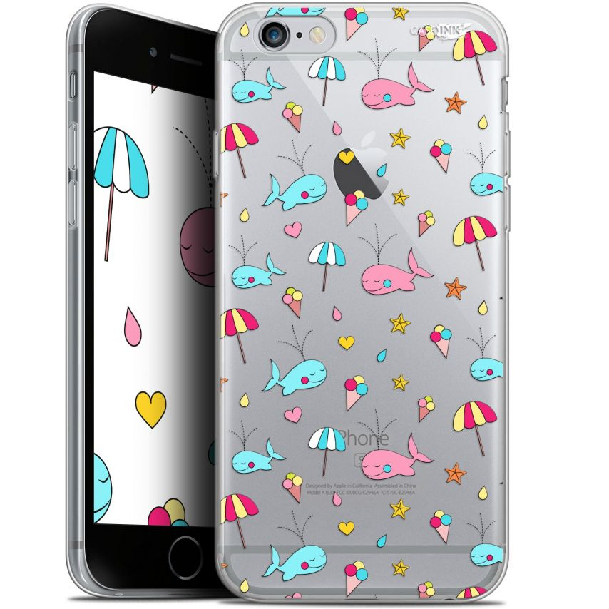 """Coque Gel Apple iPhone 6 Plus/ iPhone 6s Plus (5.5"""") Extra Fine Motif - Baleine à la Plage"""