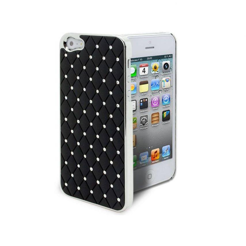 Vue complémentaire de Coque iPhone 5 Luxury Satin & Diamant Noire