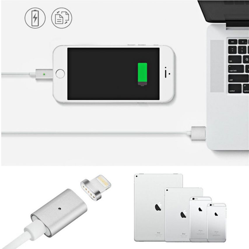 Câble USB à 8 Pins iOS9 1m 3A MagSafe Magnet Blindé - iPhone 6S/6 Plus/5/S/C Argent