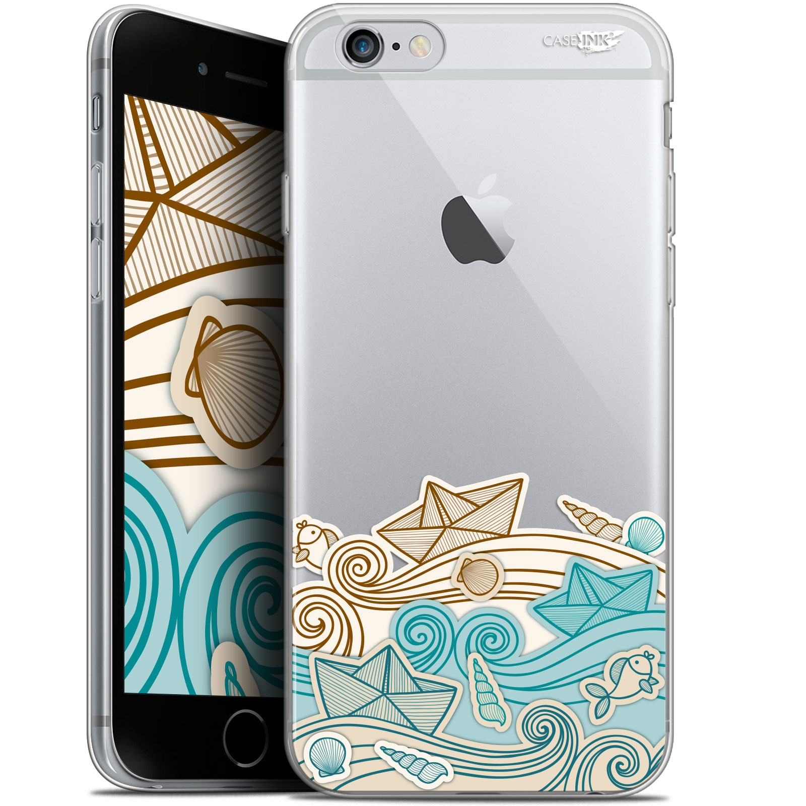 coque gel apple iphone 6 plus iphone 6s plus 55 extra fine motif bateau de papier