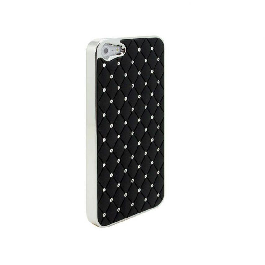 Photo réelle de Coque iPhone 5 Luxury Satin & Diamant Noire