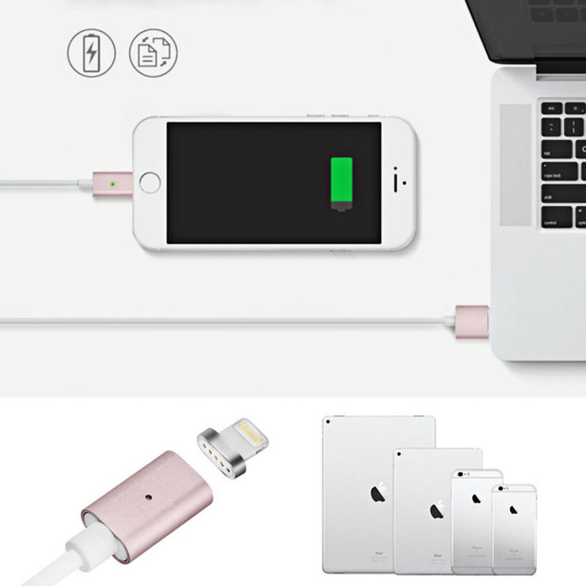 Câble USB à 8 Pins iOS9 1m 3A MagSafe Magnet Blindé - iPhone 6S/6 Plus/5/S/C Or Rose