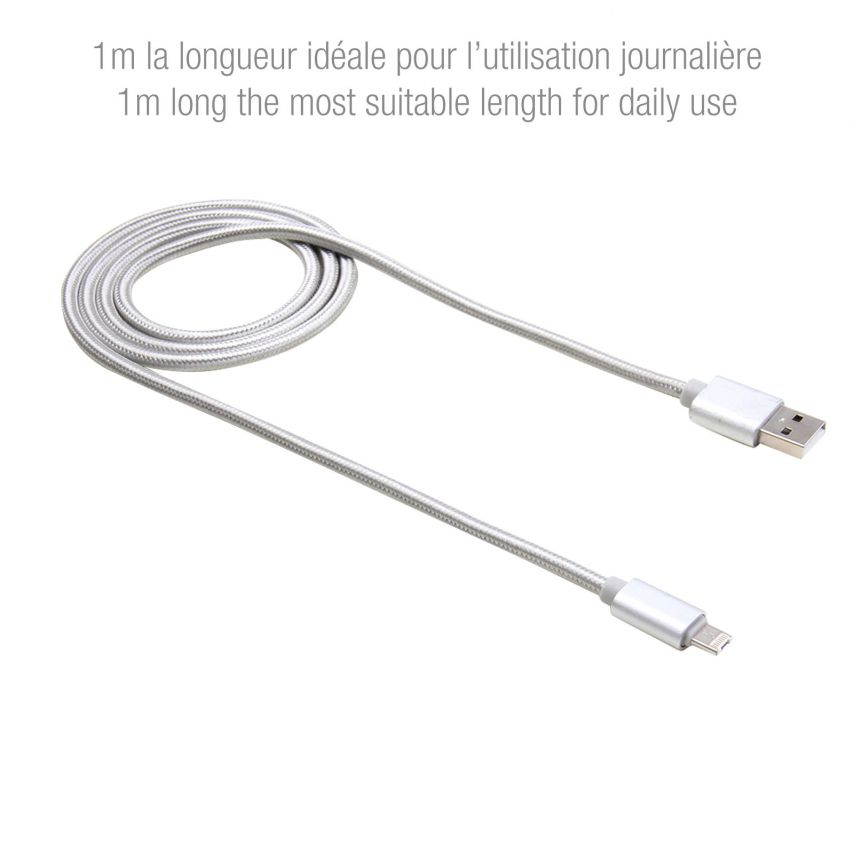 Câble USB à 8 Pins iOS9 1m 3A + Micro USB - iPhone Galaxy Android Argent