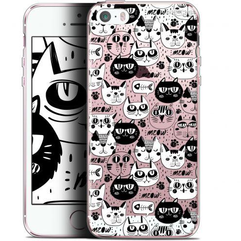 "Coque Gel Apple iPhone 5/5s/SE (4"") Extra Fine Motif - Chat Noir Chat Blanc"