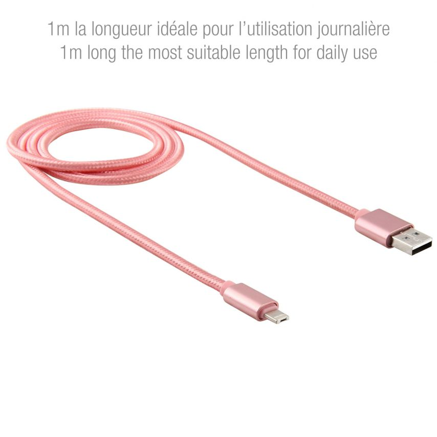 Câble USB à 8 Pins iOS9 1m 3A + Micro USB - iPhone Galaxy Android Or Rose