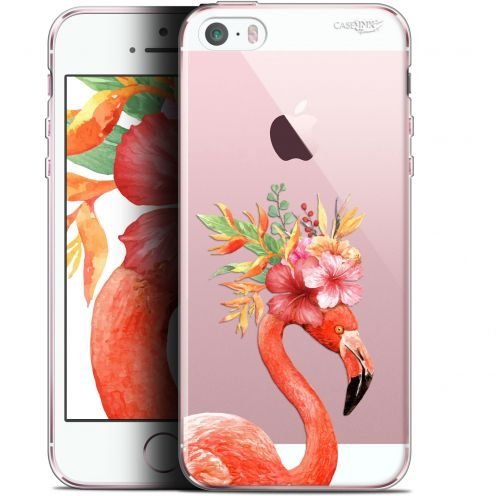 "Coque Gel Apple iPhone 5/5s/SE (4"") Extra Fine Motif - Flamant Rose Fleuri"