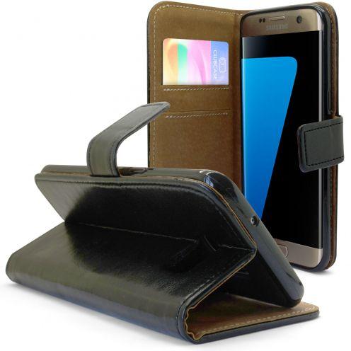 Etui Italia Folio Stand Samsung Galaxy S7 Edge Cuir Véritable Bovin Noir