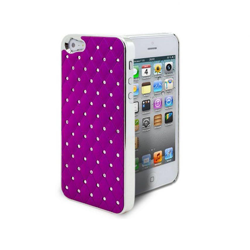 Vue complémentaire de Coque iPhone 5 Luxury Satin & Diamant Violette