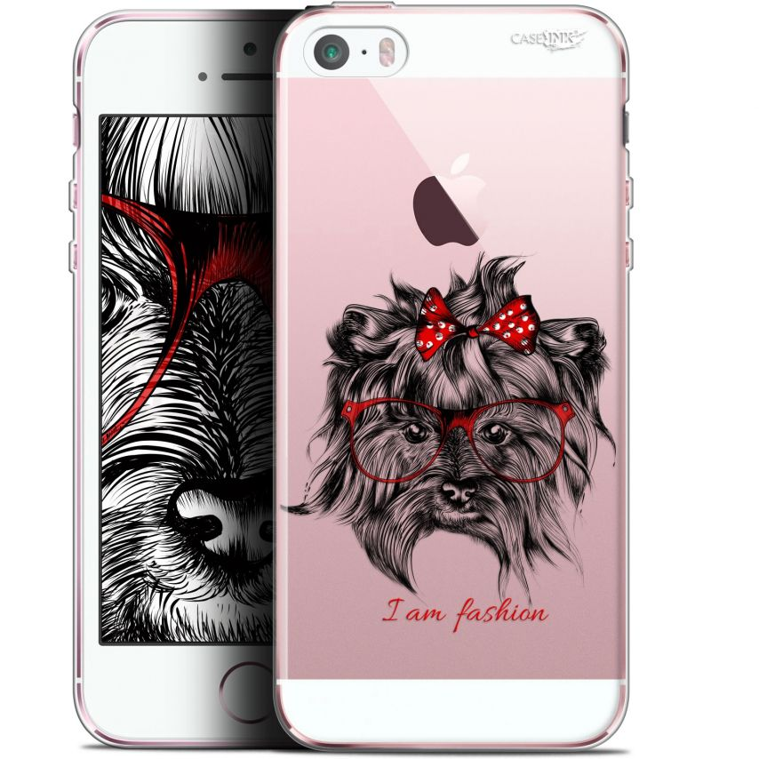 coque gel apple iphone 5 5s se 4 extra fine motif fashion dog