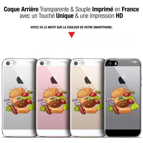 coque gel apple iphone 5 5s se 4 extra fine motif splash burger