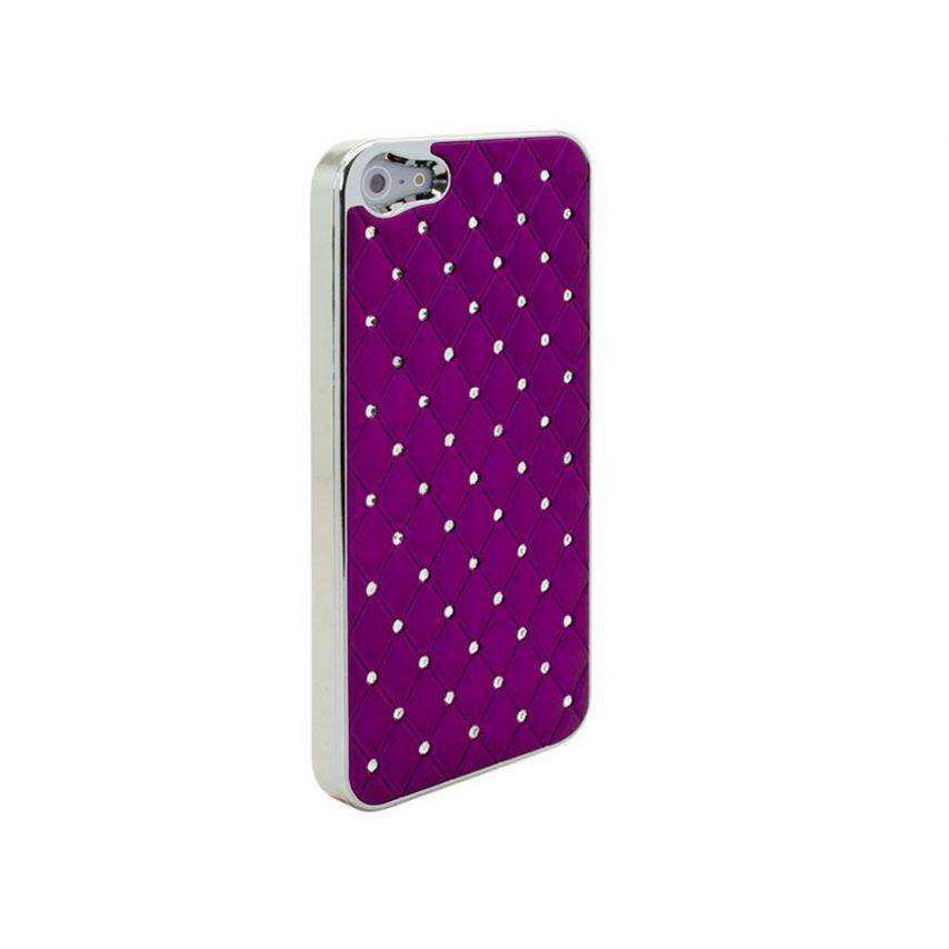 Photo réelle de Coque iPhone 5 Luxury Satin & Diamant Violette