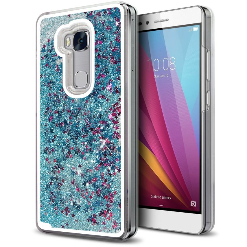 Coque Crystal Glitter Liquid Diamonds Bleu Huawei Honor 5X