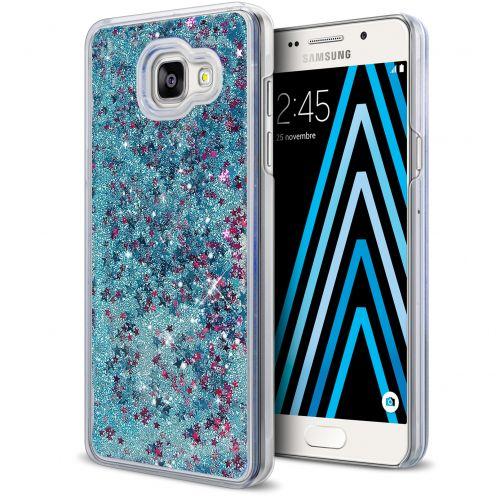 Coque Crystal Glitter Liquid Diamonds Bleu Samsung Galaxy A3 2016 (A310)