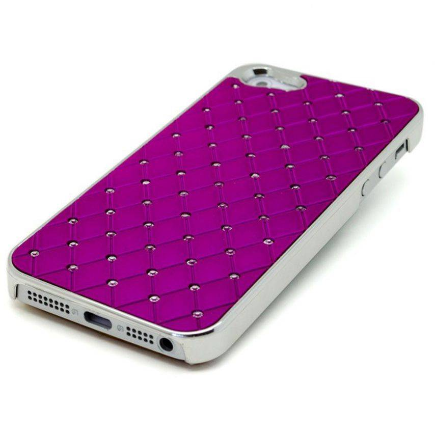 Visuel unique de Coque iPhone 5 Luxury Satin & Diamant Violette