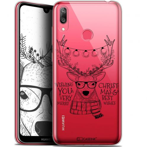 "Coque Gel Huawei Y7 / Prime / Pro 2019 (6.26"") Extra Fine Noël 2017 - Cerf Hipster"