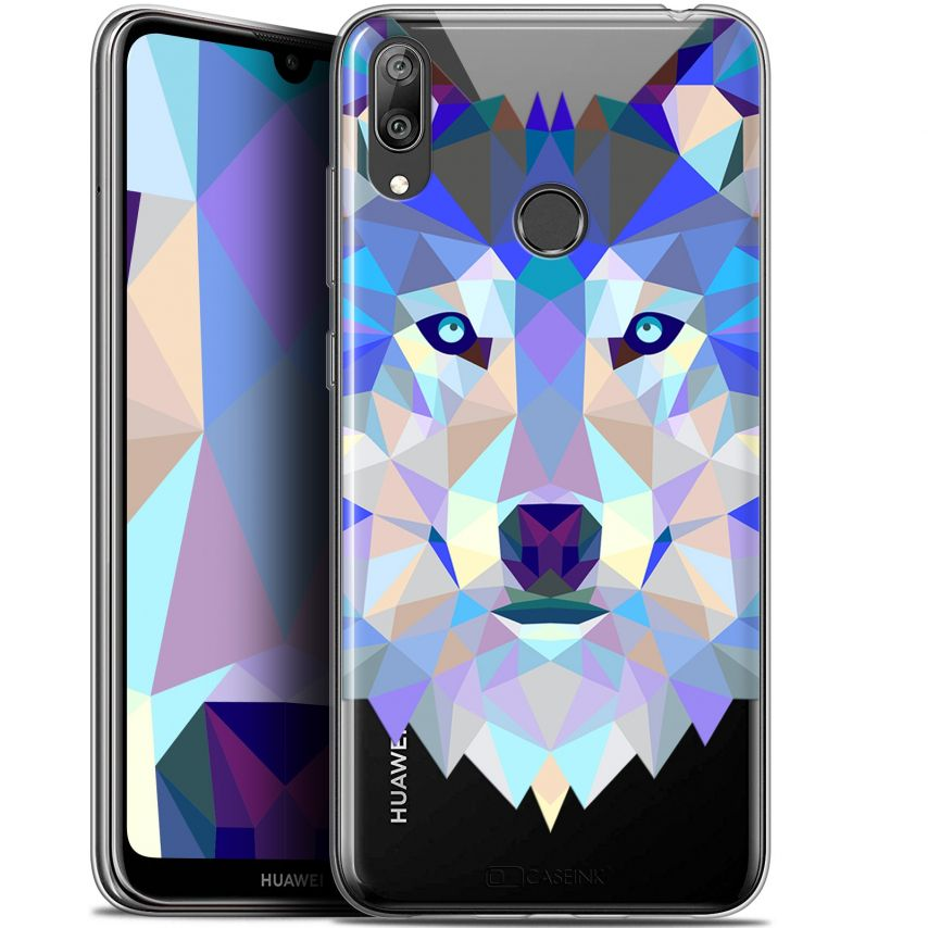 "Coque Gel Huawei Y7 / Prime / Pro 2019 (6.26"") Extra Fine Polygon Animals - Loup"