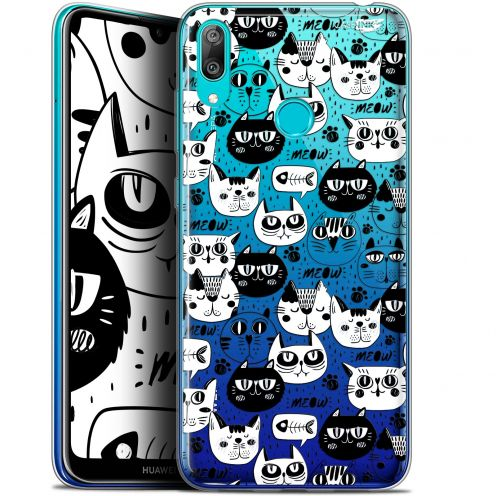 "Coque Gel Huawei Y7 / Prime / Pro 2019 (6.26"") Extra Fine Motif - Chat Noir Chat Blanc"